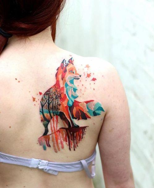Best Colorful Fox Tattoo Idea