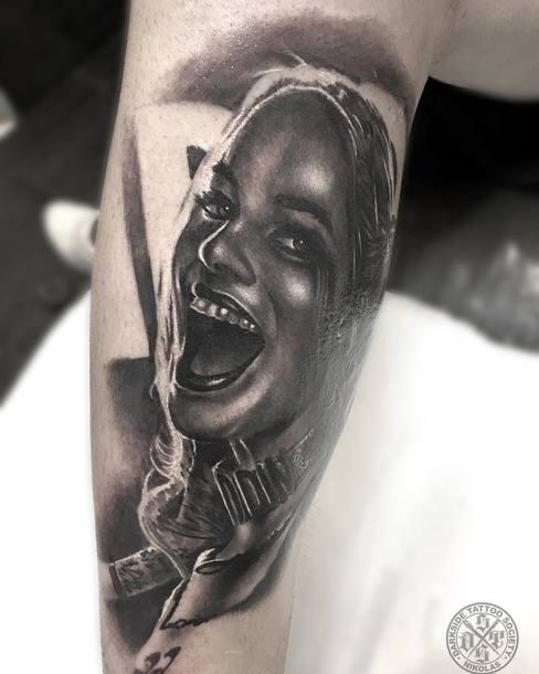 Black and Gray Harley Quinn Tattoo Idea