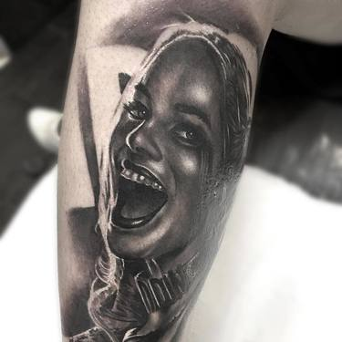 Black and Gray Harley Quinn Tattoo