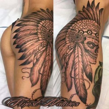 Indian Headdress on Butt Tattoo