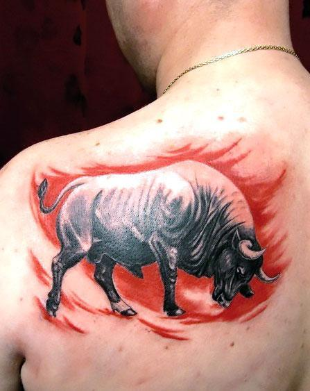 Angry Bull on The Back Tattoo Idea