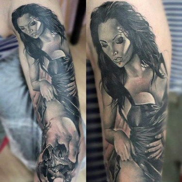 Black and Gray Pin Up Girl Tattoo
