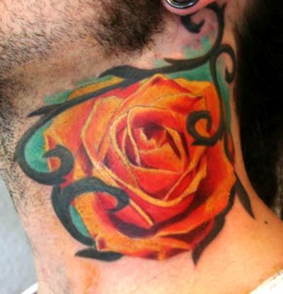 Orange Rose on Neck Tattoo Idea