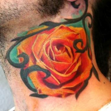 Orange Rose on Neck Tattoo