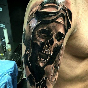 Crazy Pilot Skull Tattoo