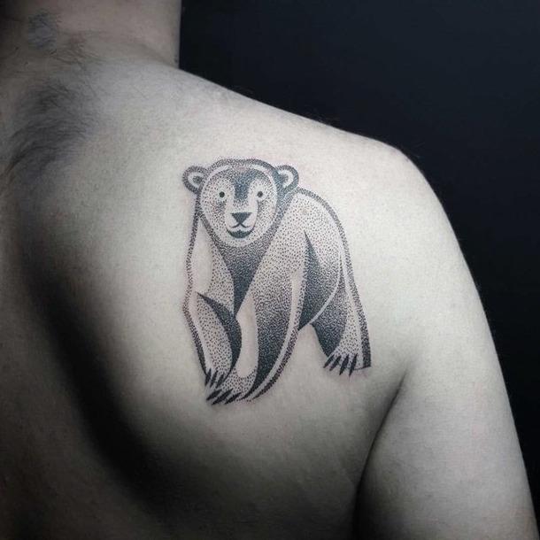 Dotwork Polar Bear Tattoo Idea