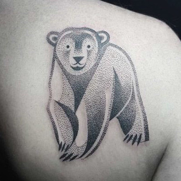 Dotwork Polar Bear Tattoo