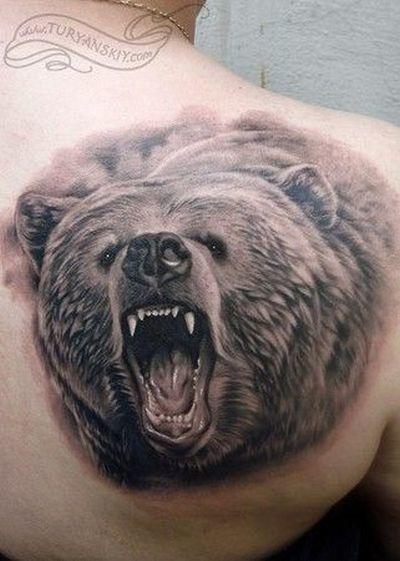 Grizzly Head Tattoo Idea