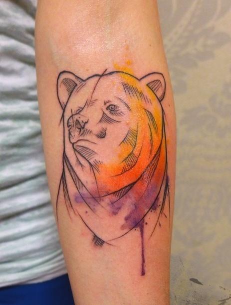Watercolor Bear Tattoo Idea
