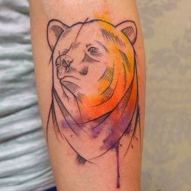 Watercolor Bear Tattoo