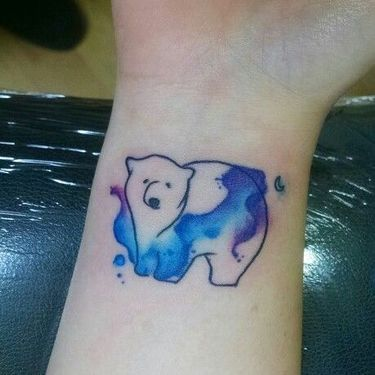 Wrist Watercolor Bear Tattoo