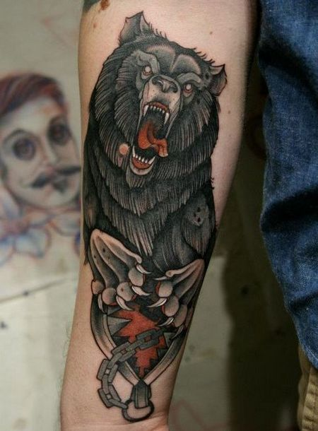 Crazy Grizzly Bear Tattoo Idea