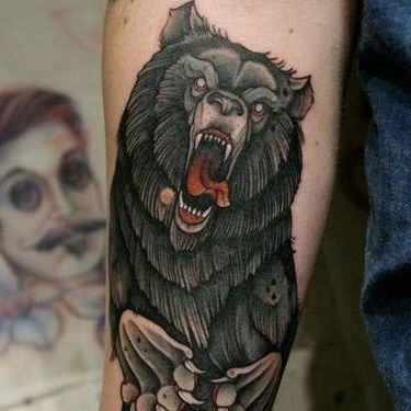 Crazy Grizzly Bear Tattoo