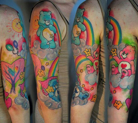 Colorful Sleeve Care Bears Tattoo Idea