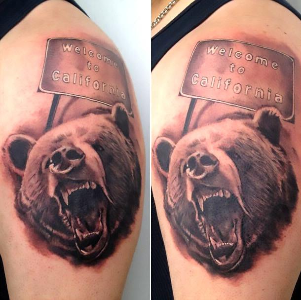 California Bear Welcome Tattoo Idea