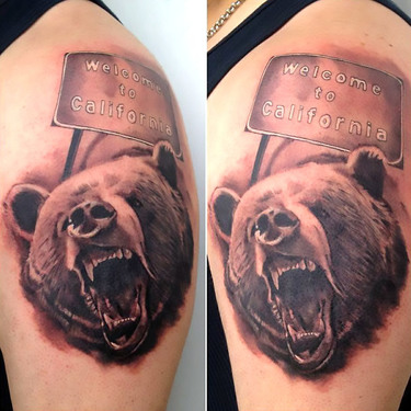 California Bear Welcome Tattoo