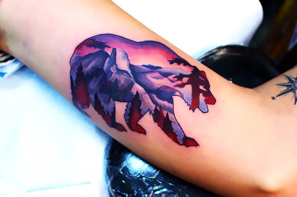 California Mountain Bear Tattoo Idea