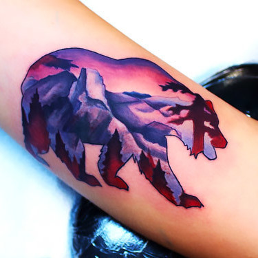 California Mountain Bear Tattoo