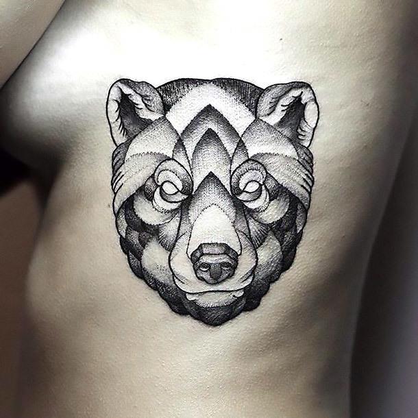 Dotwork Bear Head Tattoo Idea
