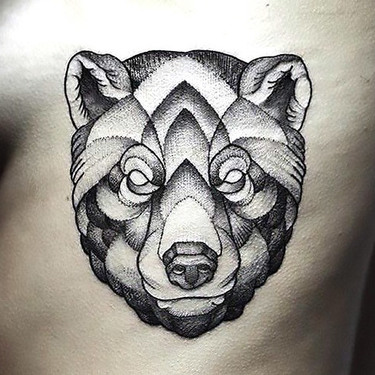 Dotwork Bear Head Tattoo