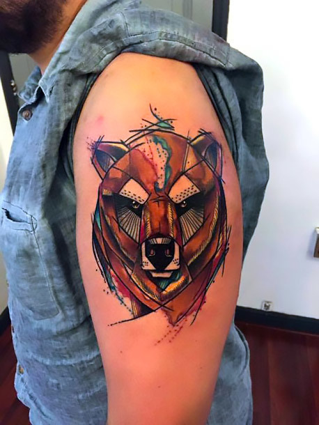 Geometric Sketch Style Bear Head Tattoo Idea
