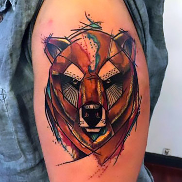 Geometric Sketch Style Bear Head Tattoo