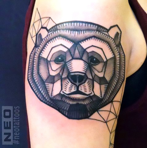 Geometric Bear Head on The Shoulder Tattoo Idea