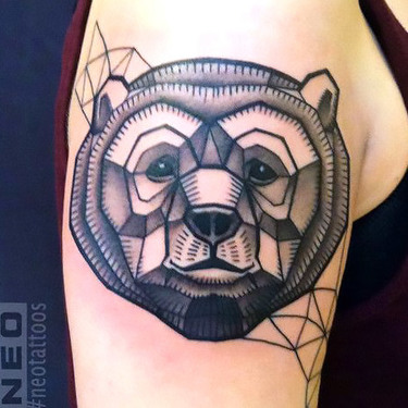 Geometric Bear Head on The Shoulder Tattoo