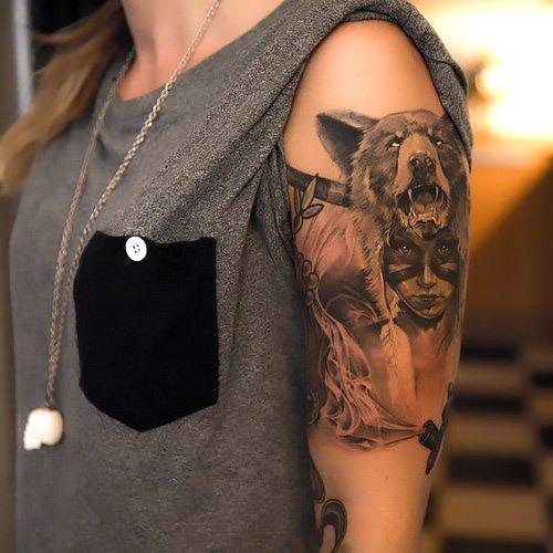 Girl With Bear Hat Tattoo Idea