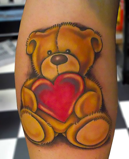 Heart Teddy Bear Tattoo Idea