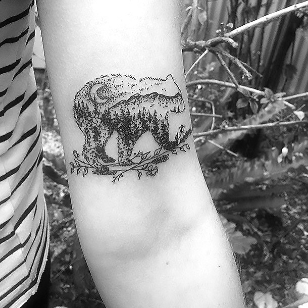 Nature Inside The Bear Tattoo Idea