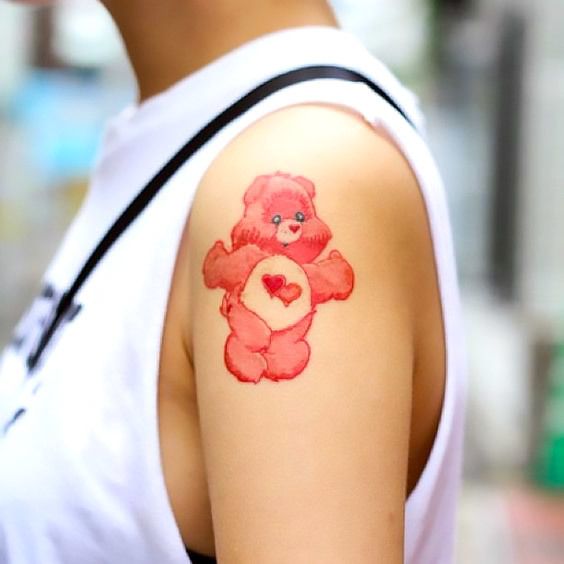 Pink Care Bear Tattoo Idea