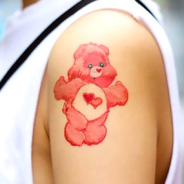 Pink Care Bear Tattoo