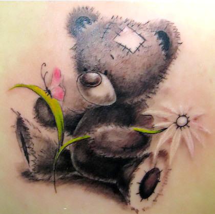 Sitting Teddy Bear Tattoo Idea