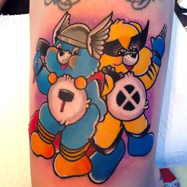 Superheroes Care Bears Tattoo