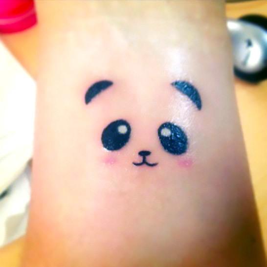 Tiny Sweet Panda Bear  Tattoo Idea