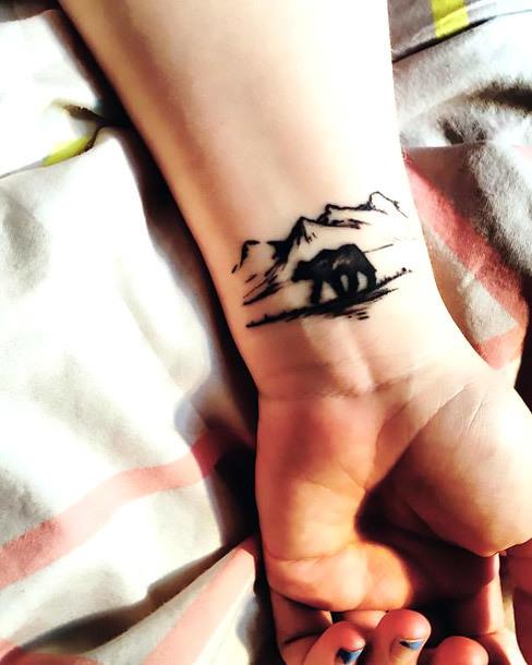 Tiny Bear and Mountains Tattoo Idea
