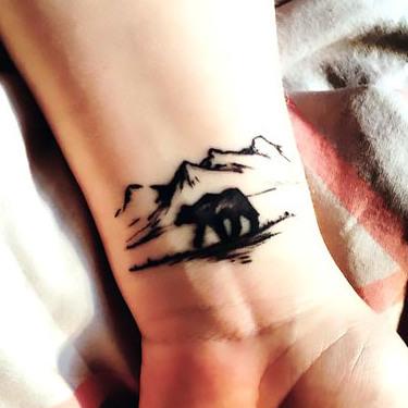 Tiny Bear and Mountains Tattoo