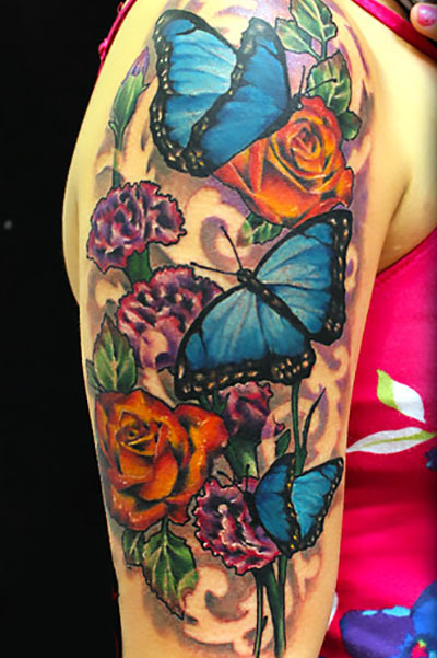 Butterfly and Flower Sleeve Tattoo Idea