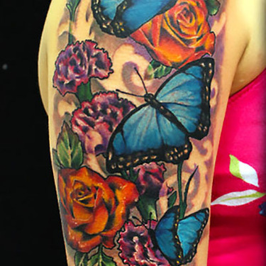 Butterfly and Flower Sleeve Tattoo