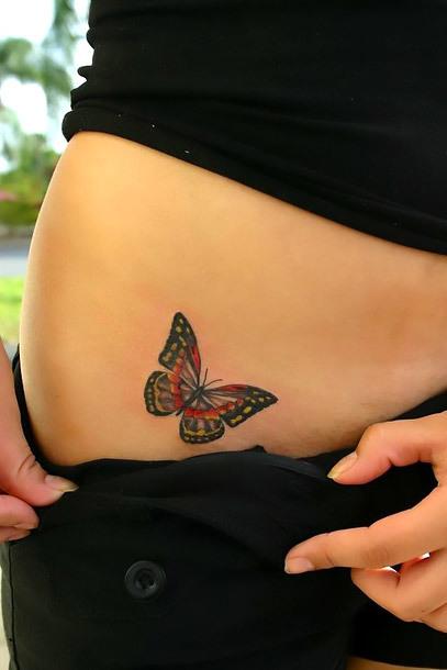 A Butterfly on Hip Tattoo Idea