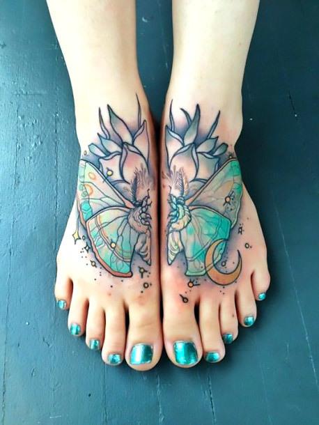 Butterfly Tattoo on Feet Tattoo Idea