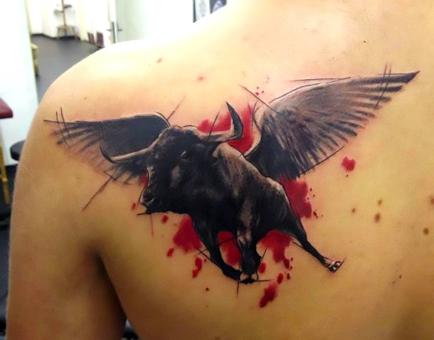 Flying Trash Polka Bull Tattoo Idea
