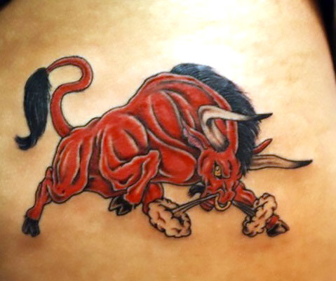Furious Red Bull Tattoo Idea