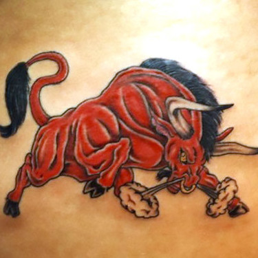 Furious Red Bull Tattoo