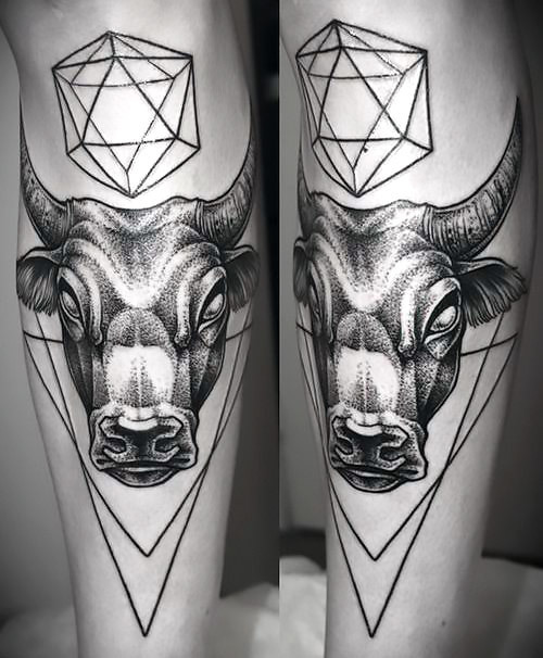 Geometric Bull Head Tattoo Idea