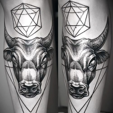 Geometric Bull Head Tattoo