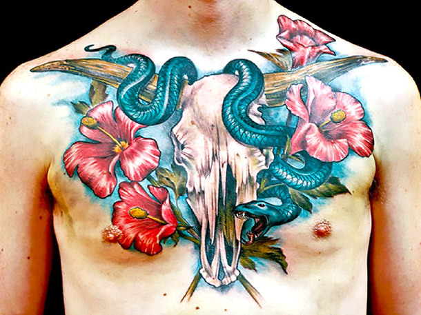 Hibiscus Flower With Bull Skull and Snake Tattoo Idea