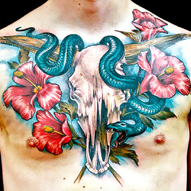 Hibiscus Flower With Bull Skull and Snake Tattoo