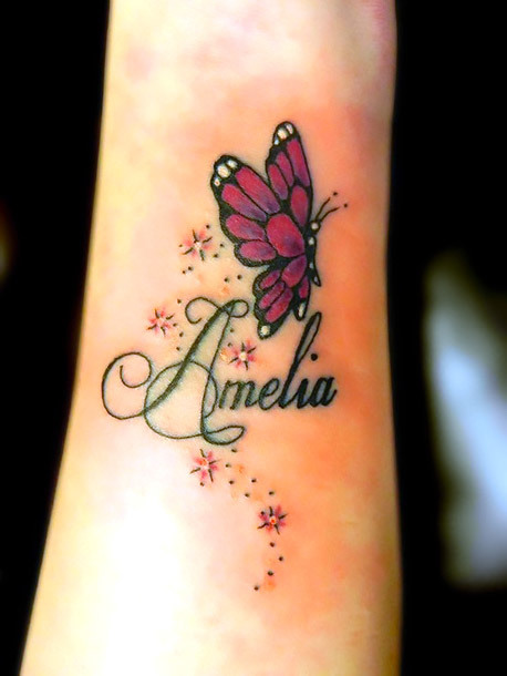 Butterfly With Name on Arm Tattoo Idea